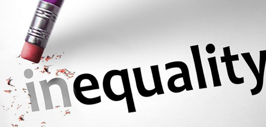 An image of the word 'inequality' with a rubber removing the 'in'